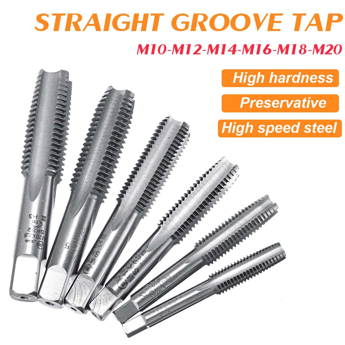 3 Pcs/Set M10 M12 M14 M16 M18 M20 HSS Hand Tap Set Screw Thread Metric Left Hand Drill Set Bottoming Hand Taps Tools