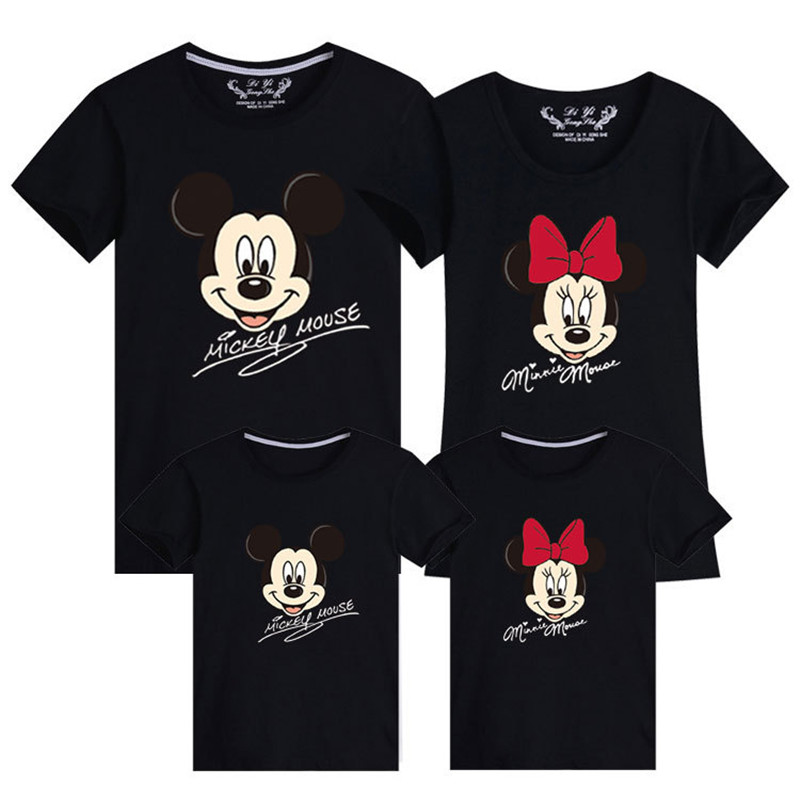 Family Matching Clothes Father Son Mother Daughter Clothing Tshirt Daddy Mommy And Me Clothes Baby Boy Girl Mickey Minnie T-shir