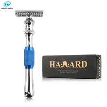 HAWARD גברים זוגי Edge בטיחות תער אבץ סגסוגת קלאסי ידני מכונת גילוח ארוך ידית כחול גילוח תער 10 להב
