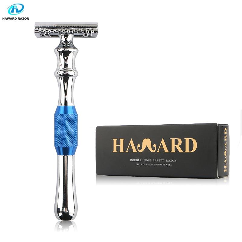 HAWARD Razor Men's Safety Double Edge Razor Zinc Alloy Classic Manual Shaver Long Handle Shaving Razor 10 Double-edged Blades