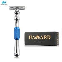 HAWARD erkek çift kenarlı emniyetli jilet çinko alaşım klasik manuel tıraş makinesi uzun saplı mavi tıraş bıçağı 10 Blade
