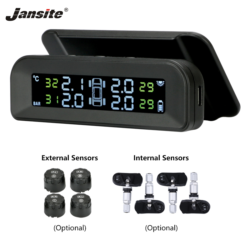 Jansite TPMS Tire Pressure Monitoring System Solar Charging Real-time Test Solar Charging Adjustable LCD Screen Wireless 4 Tires