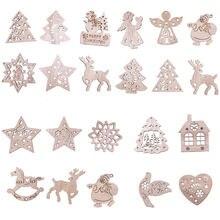 Weihnachten Baum Stern Schneeflocke Santa Claus Engel Deer Schneemann Weihnachten Holz Anhänger Ornamente Neue Jahr Party Hängen Dekor