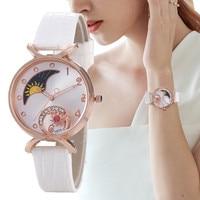Elegante Mond mit diamanten Uhren Frauen Mode Luxus Quarz Armbanduhren Casual Weibliche Leder Uhr Kreative Montre Femme