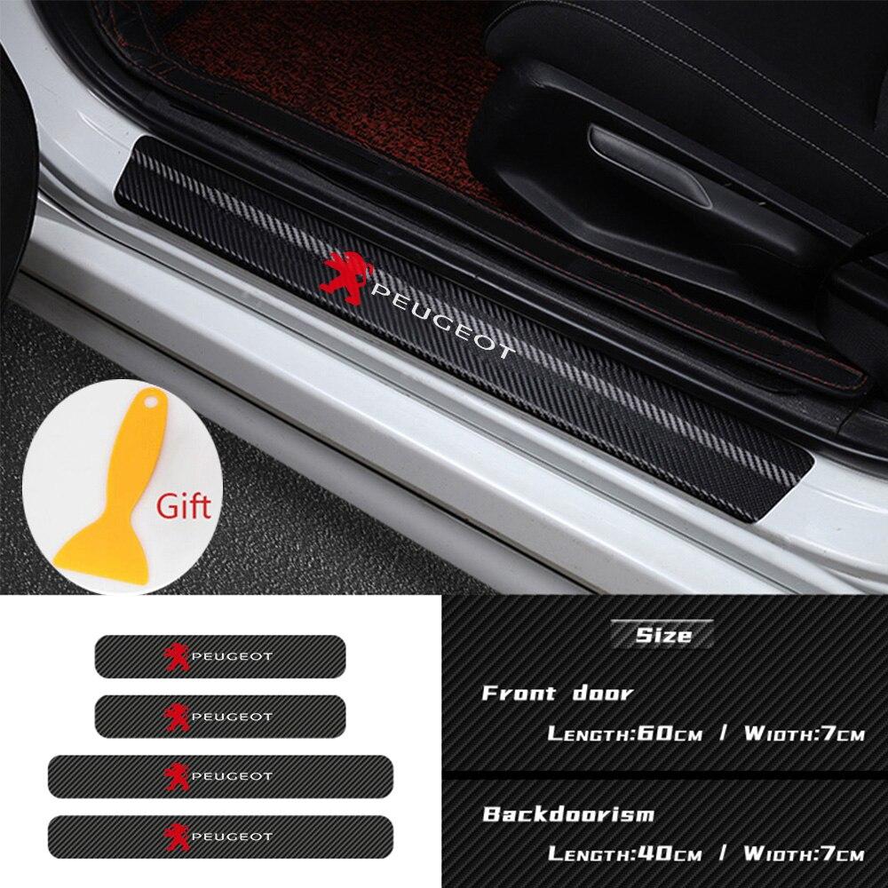 4PCS Placa Chinelo Soleira Da Porta de Carro De Fibra De Carbono Adesivo para Peugeot 206 207 208 306 307 308 407 408 508 2008 3008 Acessórios