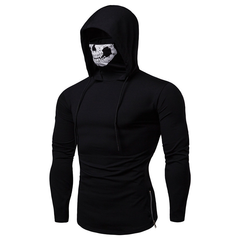 Long Sleeve Men's Hoodies with Skeleton Print Mask Black Gray Elasticity Coat Moto Biker Style Cool Sweatshirts Men Hoodies