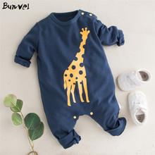 Bunvel dziewczynek chłopców ubrania żyrafa drukowane bluzy kombinezon ubrania dziewczynka ubrania dla dzieci śpioszki dziewczęce ubrania dla dzieci 2020 tanie tanio Poliester Cartoon O-neck Przycisk zadaszone Pajacyki Unisex Pełna Fashion Baby bodysuit Pasuje prawda na wymiar weź swój normalny rozmiar