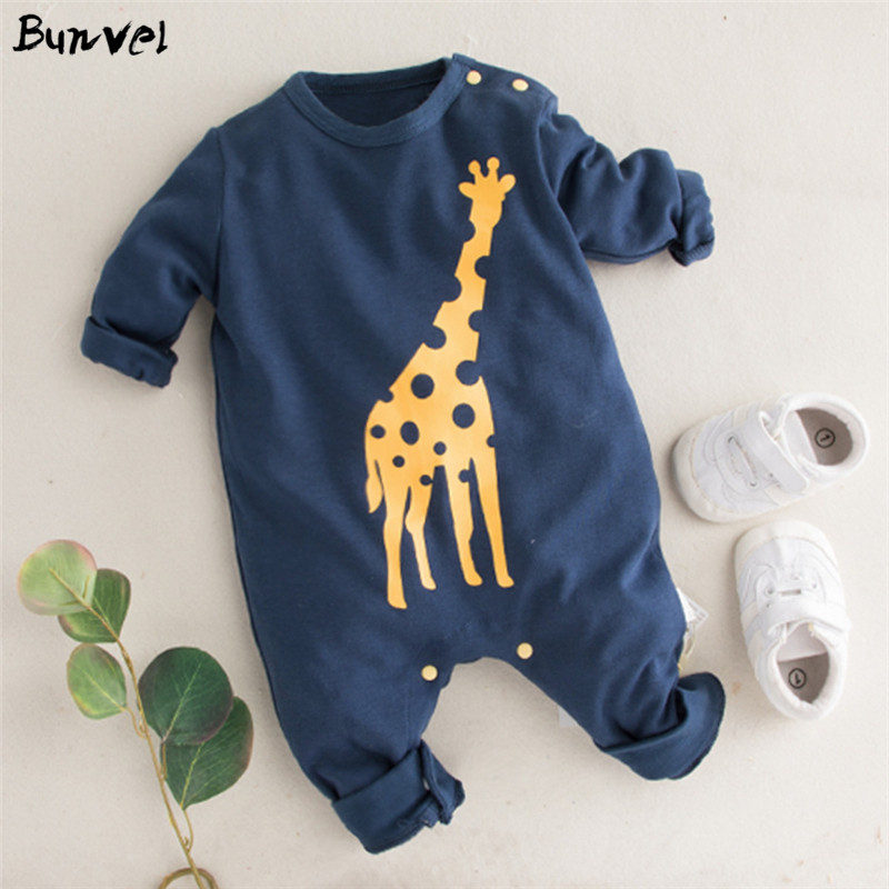 Bunvel Baby Girls Boys Clothes Giraffe Printed Jumpers Jumpsuit Clothes Baby Girl Clothes Baby Girl Romper Kid Clothes 2020