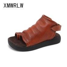 XMWRLW Women's Summer Flip Flop Genuine Leather Retro Sandals 2020 Summer Ladies