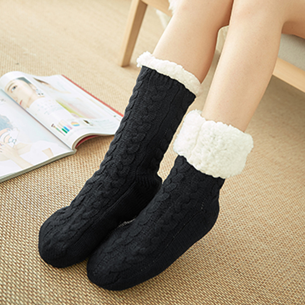 One Size Artificial Fleece Lined Fluffy Warm Floor Soft Women Socks Non Slip Thickened Cozy In Tube Winter Adult Bed Home