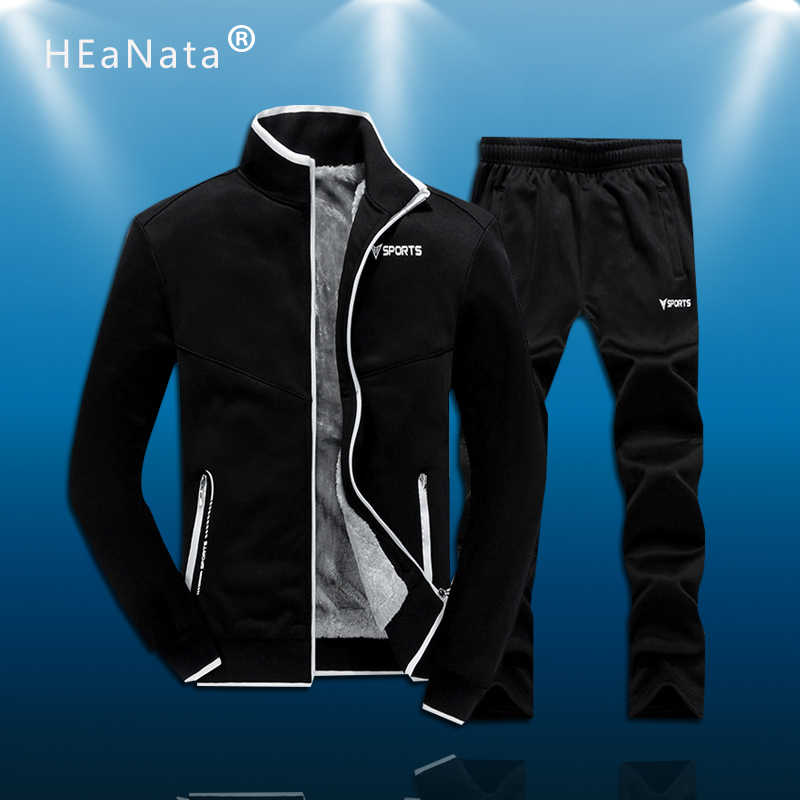 M-6XL Mannen Dikker Training Sport Pak Afdrukken Winter Fleece Warme Sweatshirts Running Set Trainingspak Mannen Sportwear