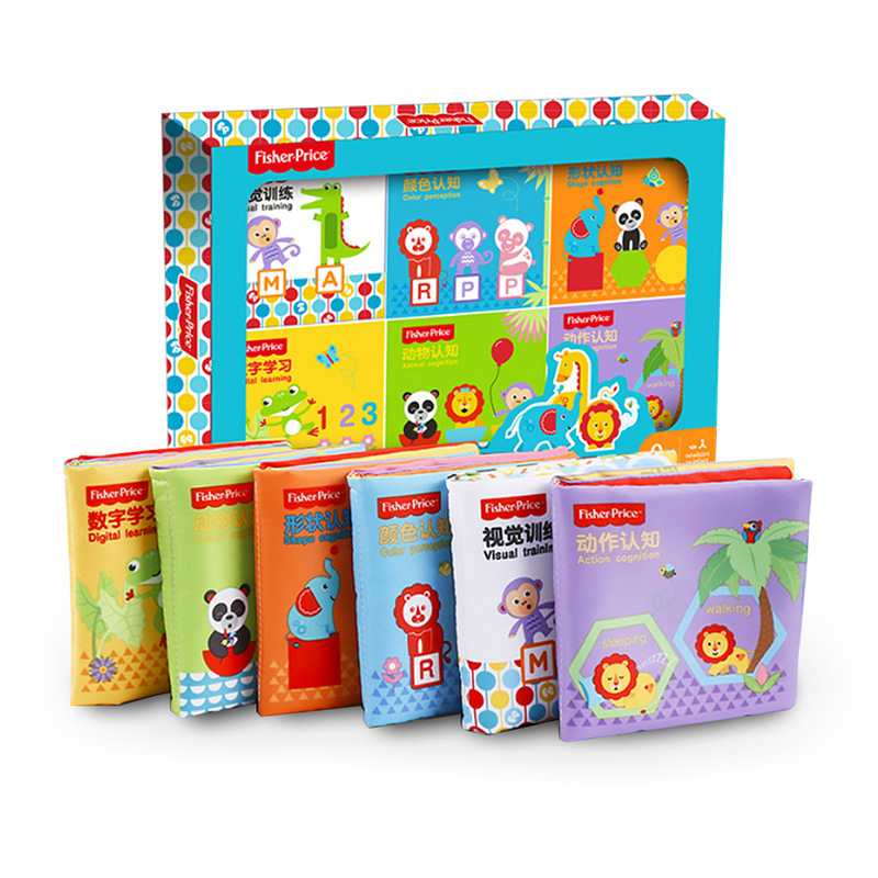 6 Books/set Chinese-English Cloth Book Set Baby Cognitive Cloth Book Baby Educational Toys Cognitive Training Books