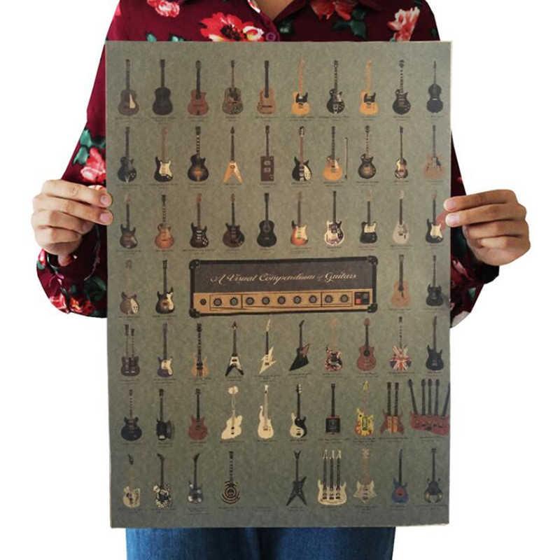 빈티지 유명한 기타 세계 포스터 룸 장식 스티커 바 벽 장식 그림 크래프트 종이 홈 인테리어 벽 스티커 포스터