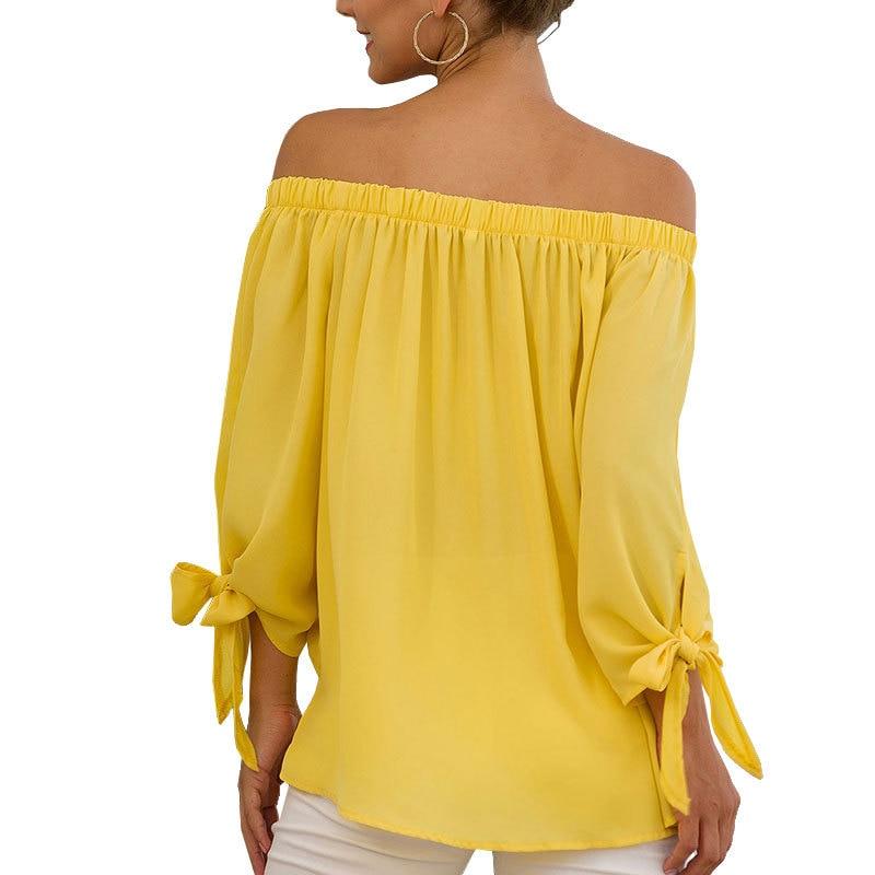 Women's Chiffon Shirt 2019 Autumn New Sexy Slash Neck Loose Long Sleeve Lace Up Bow Tops Women's Clothing Blouses