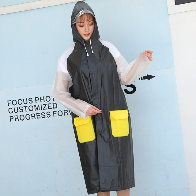 Black Plastic Women Raincoat Zipper Women Long Body Rain Coat Transparent Rainwear Rain Poncho Plastic Suit Capa De Chuva Gift