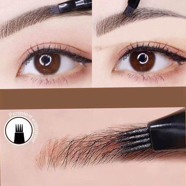 Makeup Fine Sketch Liquid Eyebrow Pen Waterproof Brow 4 Fork Tip Cosmetic Art Tint Eye Brow Pencil Microblading Tattoo Eyebrows 4