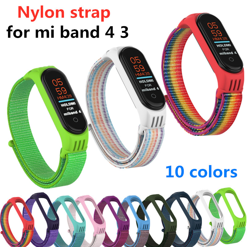 Nylon Strap For Xiaomi Mi Band 4 3 Replaceable Bracelet Mi Band4 Band3 Sports Wristband Breathable Bracelet For Xiomi Miband 4 3