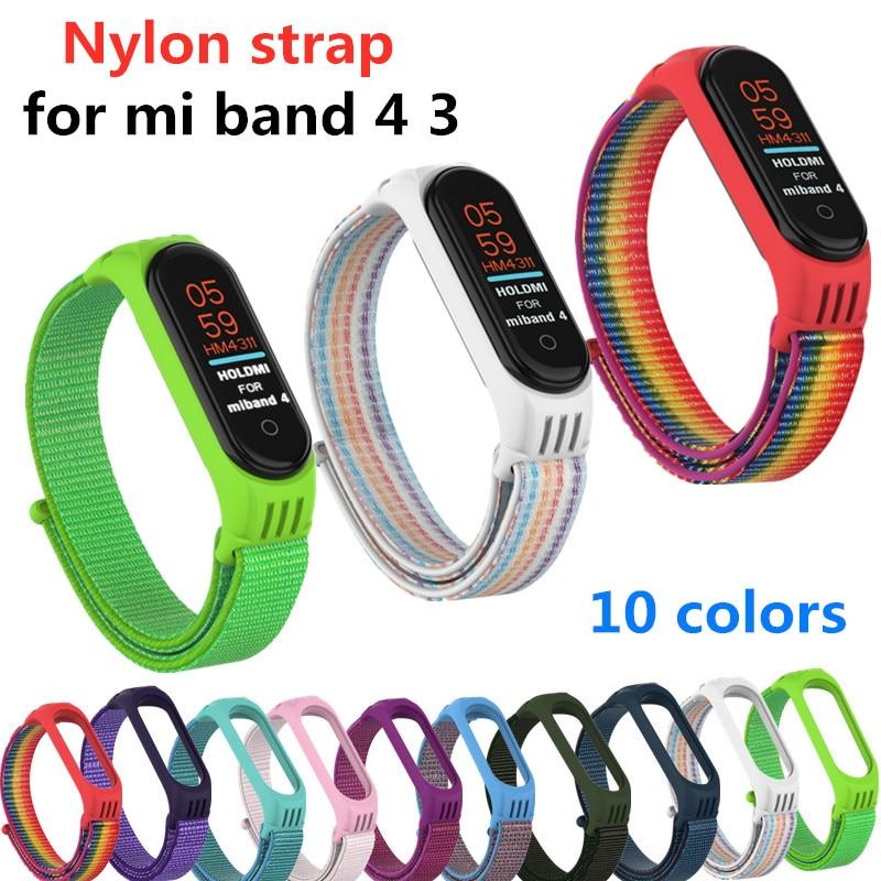 Nylon Strap For Xiaomi Mi Band 4 3 Replaceable Bracelet Mi Band4 Band3 Sports Wristband Breathable Bracelet For Xiomi Miband 4 3
