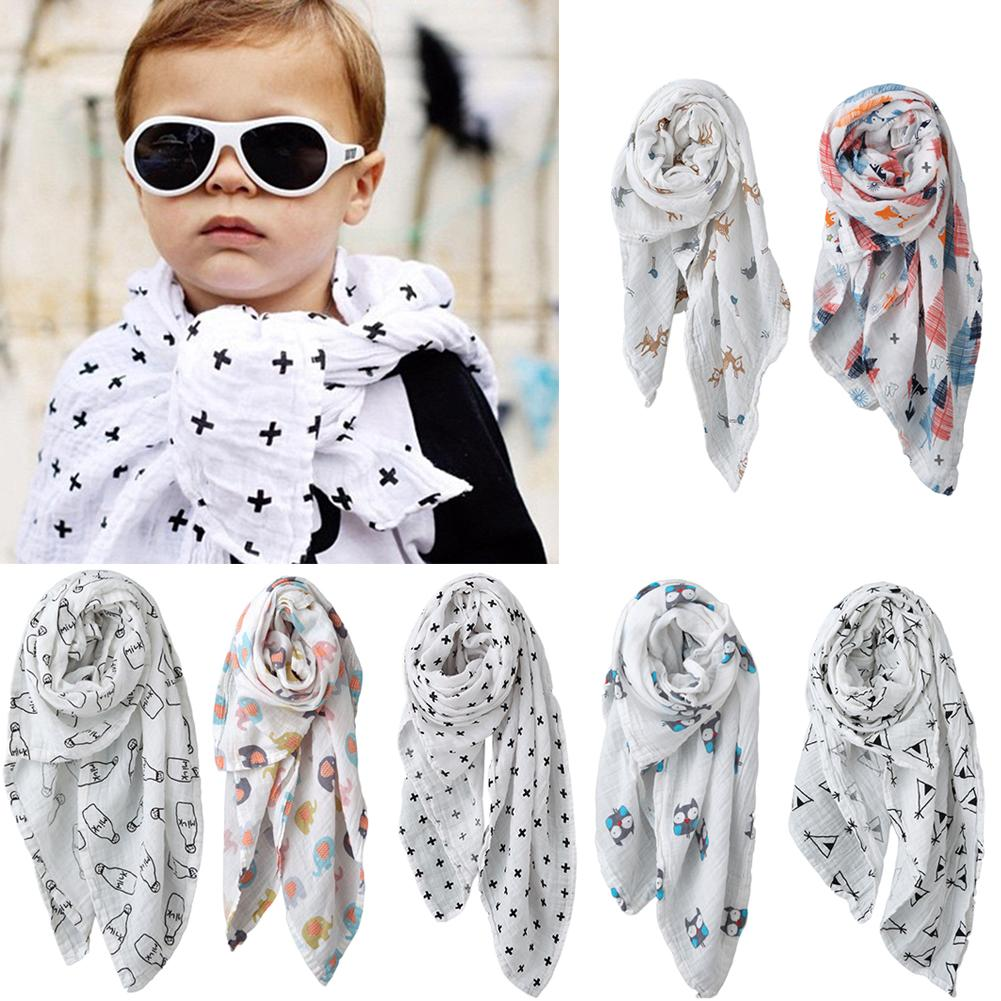 115cm 2-Layers Soft Animal Print Baby Swaddle Blanket Muslin Gauze Bath Towel