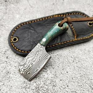 Image 2 - Mini faca de lâmina fixa de aço de damasco, p, cabo de madeira, de bolso, edc, fivela, chave, ferramenta manual, com faca, dropship