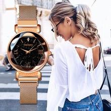 Gogoey Women's Watches Starry Sky Zegarek Damski Rose Gold Bracelet Ladies
