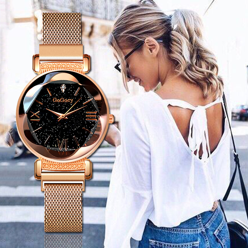 Gogoey Women's Watches Starry Sky Zegarek Damski Rose Gold Bracelet Ladies Watch Women Luxury Clock Women Gift bayan kol saati