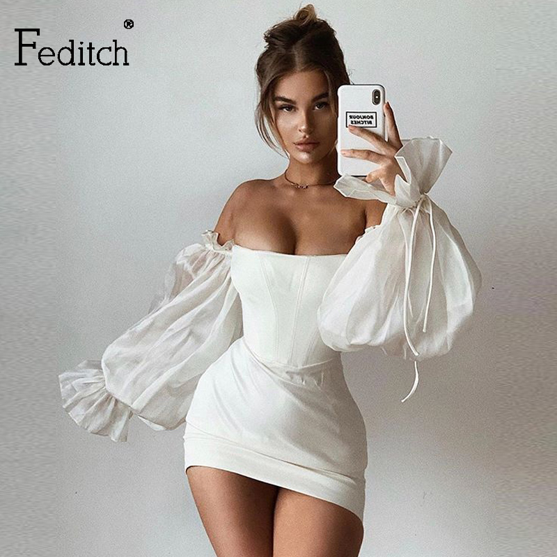 Feditch 2020 Satin Sexy White Summer Dress Lantern Sleeves Mini Dress Women Bodycon Solid Slim Night Club Party Dress Vestidos