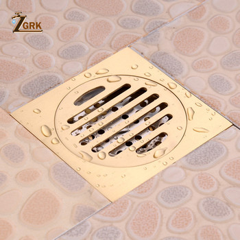 ZGRK Drains 10*10cm Square Brass Bathroom Kitchen Floor Drain Cover Strainer Deodorant Linear Drain Grate Waste