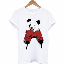 Panda Boxing Printed Casual Summer T Shirt Women T-shirt 2019 Tops Tee New Arrivals Hot Sale XS-4XL