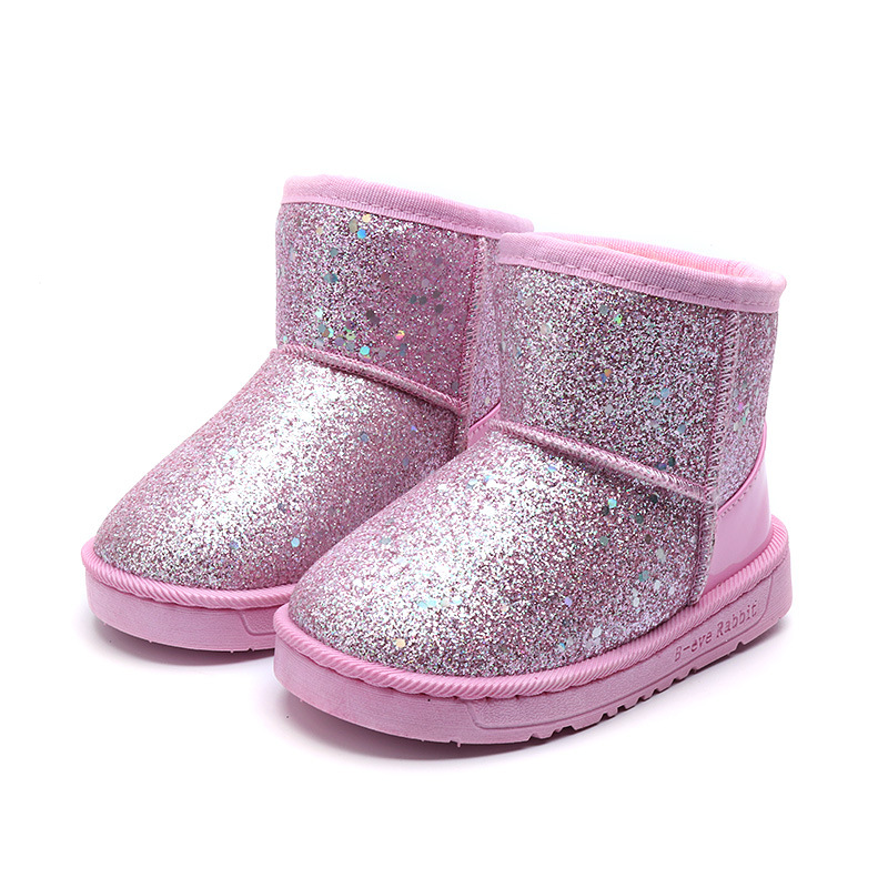 Bling Children Shoes For Girls Winter Toddler Leather Boots Kids Waterproof Snow Boots For 2 3 4 5 6 7 8 9 10 11 12  Year Old