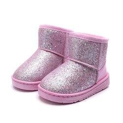 Bling buty dla dzieci dla dziewczynek zima maluch skórzane buty dla dzieci wodoodporne buty śniegowe dla 2 3 4 5 6 7 8 9 10 11 12 lat w Buty od Matka i dzieci na
