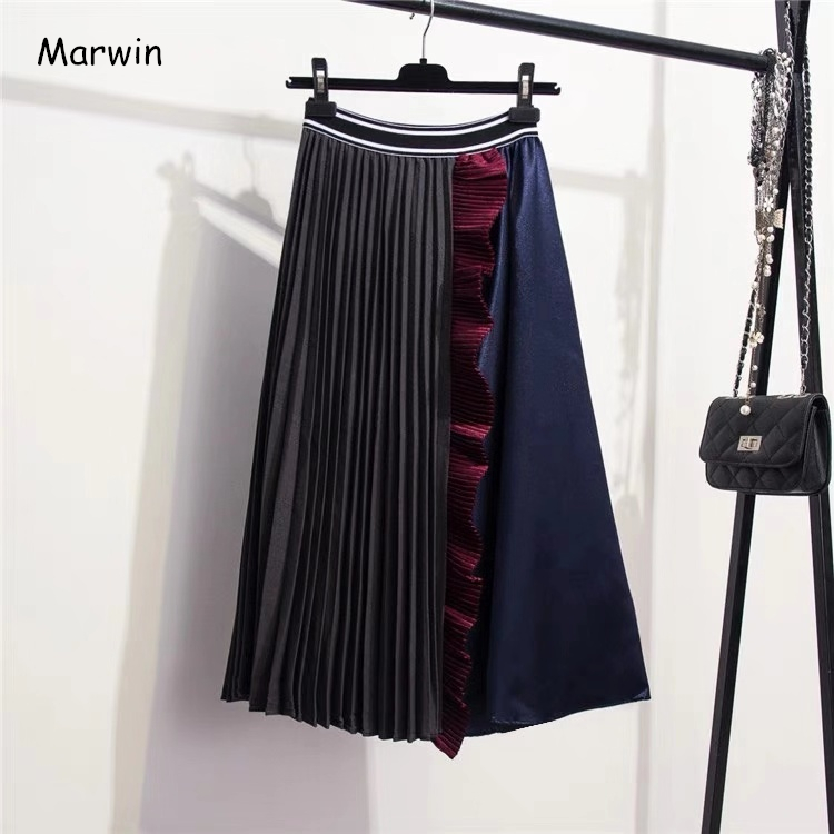 Marwin Winter New-Coming Retro Ruffles Splice Contrast Color European Women Skirts High Street Style Mid-Calf Soft For Christmas