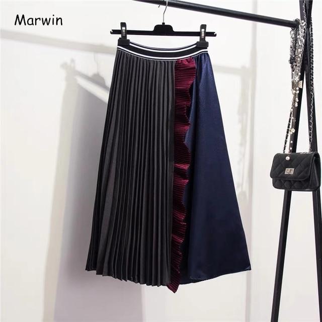Женская юбка с оборками Marwin, зимняя Мягкая юбка контрастных цветов в стиле ретро, до середины икры, в европейском стиле, на Рождество