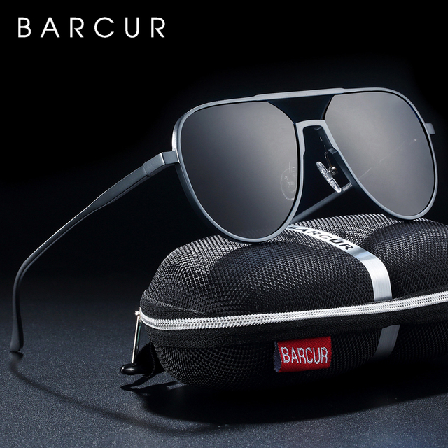 BARCUR  Oversize Aluminium Sunglasses Men Polarized Trending Styles Sun glasses Male Anti Reflective oculos With Box Gift
