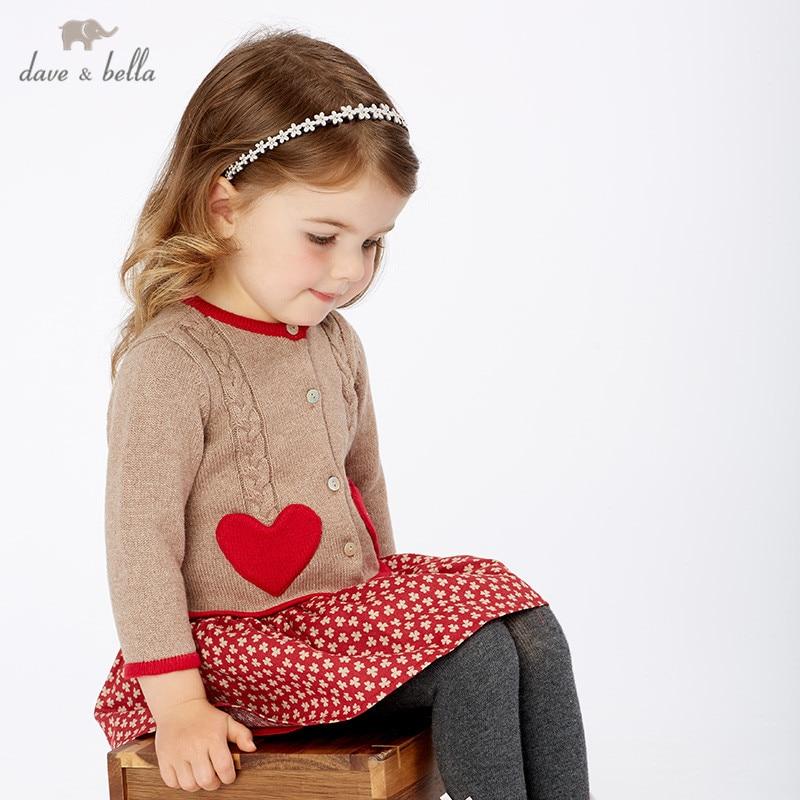 DB11590 dave bella hiver bébé fille princesse amour floral pull robe enfants fête robe enfants infantile lolita vêtements
