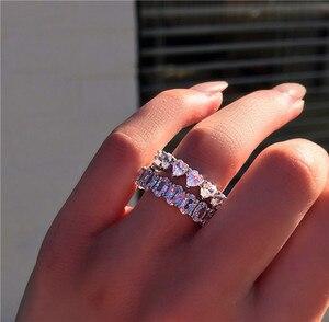 Image 2 - バンドリング 925 スターリングシルバー作成モアッサナイト結婚式婚約パーティーカクテルダイヤモンドリング宝石宝飾品の卸売