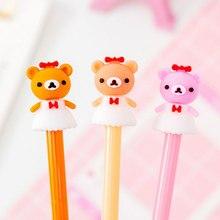 2pcs/lot Skirt Little bear black water gel pen office neutral childrens gift kawaii School stationery supplies material