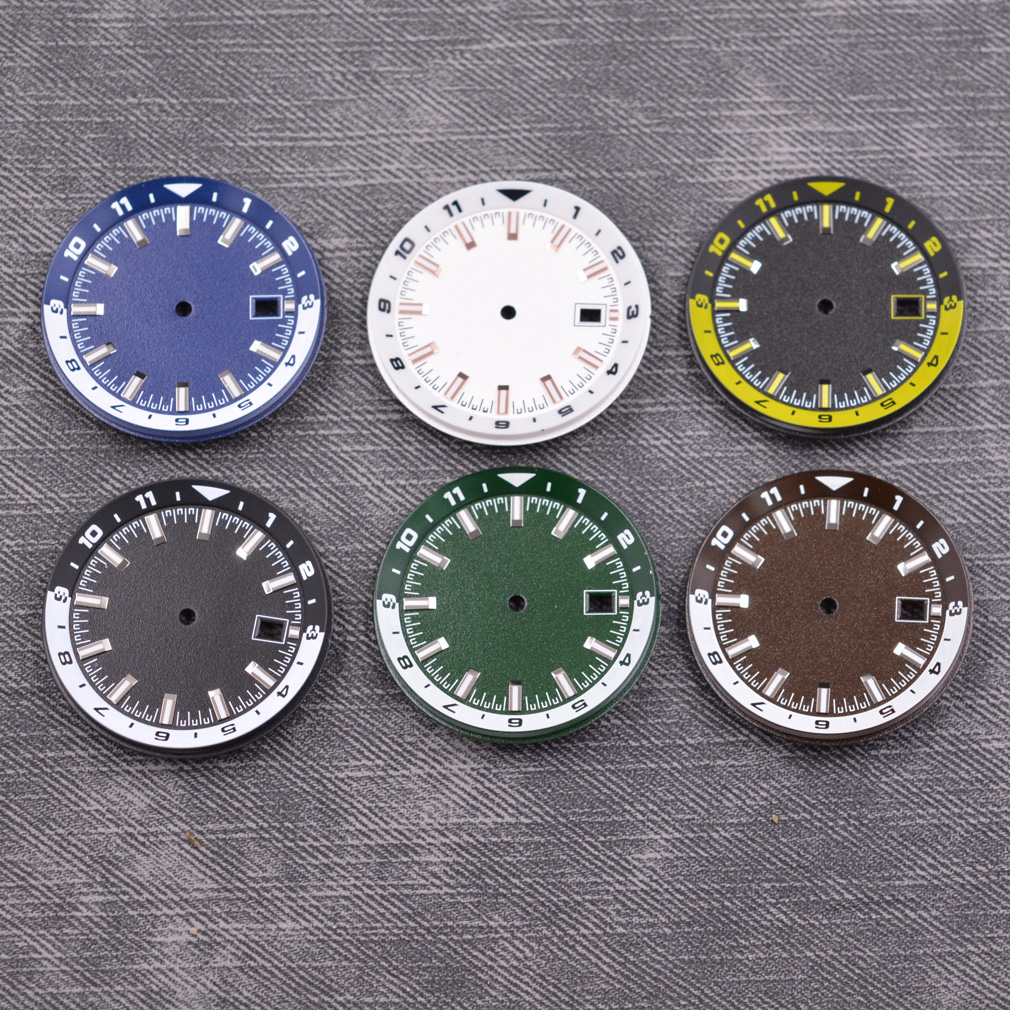 36.5mm dial fit NH35 NH36 NH35A movement luminous black white green blue sterile dial