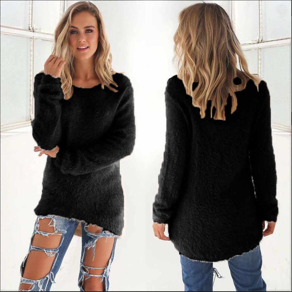 Модный женский свитер с длинным рукавом Женский вязаный свитер однотонный пуловер с круглым вырезом джемпер свободный свитер зимний женский одежда # K20
