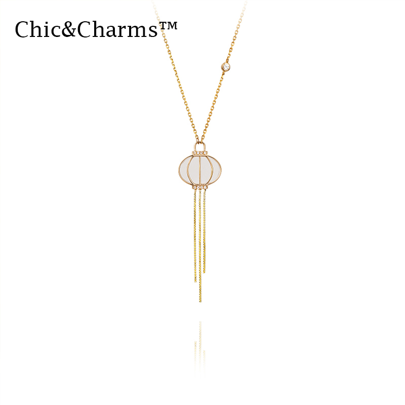 Chic & charmes 9K & 14K véritable or blanc naturel couleur collier de pierres précieuses chine ethnique glands de femmes bijoux de mode 2019
