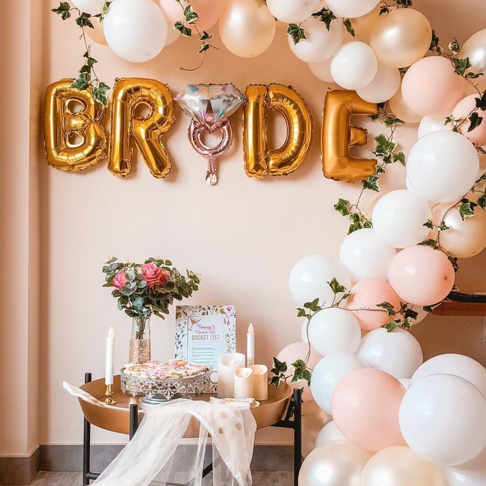 1 set Rose Gold Bride to be Letter Foil Balloons Wedding Party Decoration bridal sash veil decor Bachelor party supplies