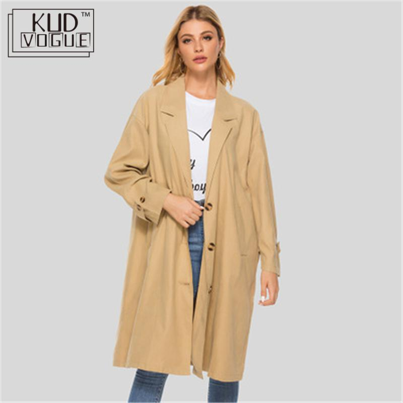 Autumn Women's Casual Trenchcoat Oversize Vintage Long Sleeve Outwear Loose Long Coat 2019 Winter Trench Coat Women Windbreaker