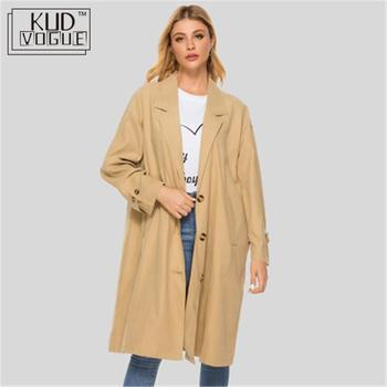 Autumn Women's Casual Trenchcoat Oversize Vintage Long Sleeve Outwear Loose Long Coat 2019 Winter Trench Coat Women Windbreaker
