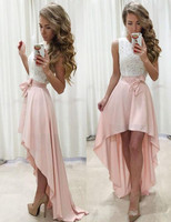 Ivory And Blush Simple High Low Formal Dress Prom Gown Front Short Long Back Party Homecoming Gowns Dresses Evening