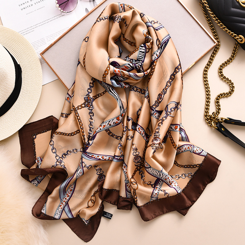 Fashion Leopard Chain Element Silk Scarf For Women 2020 Spring New Shawls And Wraps Luxury Designer Foulard Neck Scarves Hijab