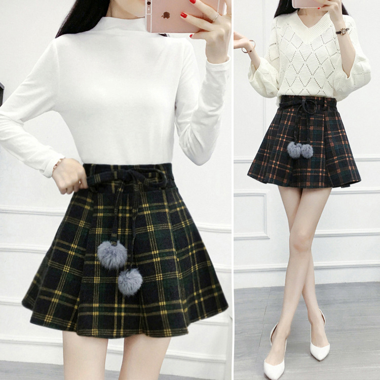 Skirt Autumn And Winter Women's Woolen Short Skirt 2019 New Style Korean-style High-waisted Plaid Slimming Puffy A- Line Pleated