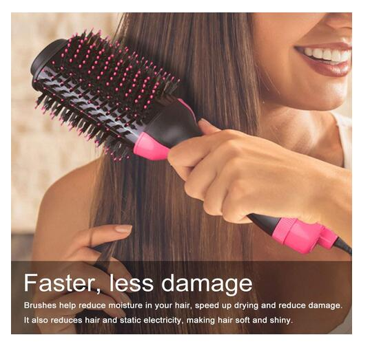 2 In 1 Multifunctional Hair Dryer & Volumizer Hair Brush Roller Rotate Styler Comb Styling Straightening Curling Iron 0001