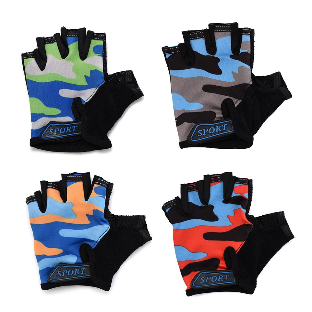 Children Cycling Half Finger Gloves Washable Breathable High Elastic Non-slip Bycicle Bike Gloves Riding Equipment 4 Colors