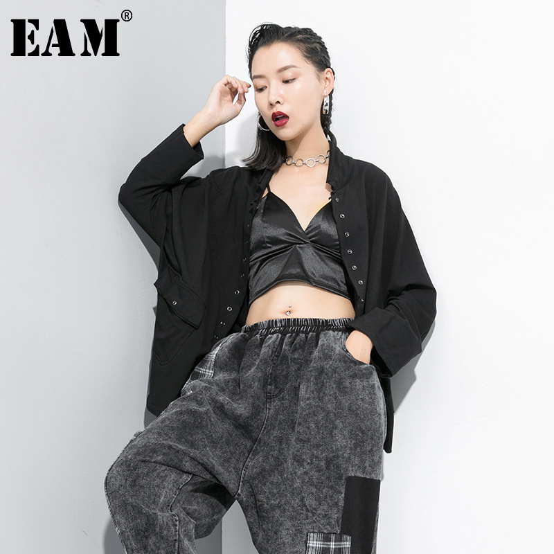 [EAM] Women Black Big Size Trench New Stand Collar Long Sleeve Loose Fit Windbreaker Fashion All-match Autumn Winter 2019 1B704