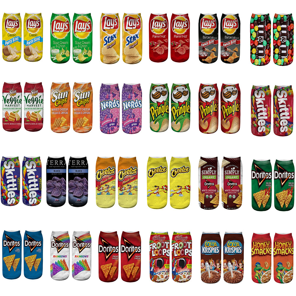 24 Styles Funny Unisex Men Art Socks Women 3D Printing Potato Chips Ankle Socks Cotton Art Short Socks For Men Length 21cm